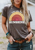 You Are My Sunshine Rainbow Print O-Neck T-Shirt
