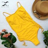 Yellow bandage one-piece swimsuit