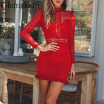 Red ruffle hollow out lace  Elegant long sleeve transparent short