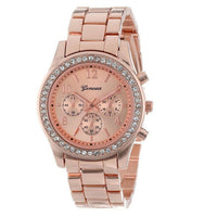Rose Gold Faux Chronograph Quartz Plated Classic Round Ladies Women Crystals Watch
