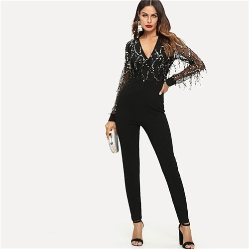 Sequin Embellished Mesh Sleeve Fitted Jumpsuit