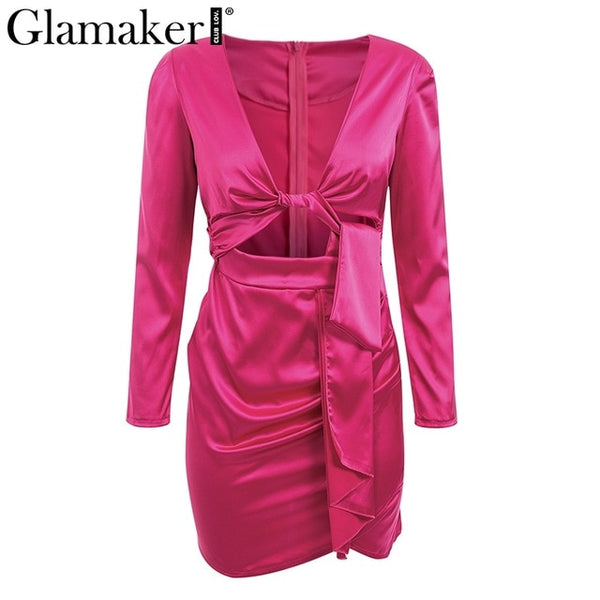 Deep v neck hollow out satin mini dress