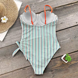 BLUE AND ORANGE STRIPE ONE-PIECE SWIMSUIT