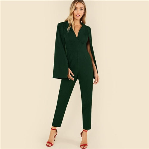Wrap Front Tailored Cape Jumpsuit