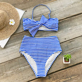 BLUE AND WHITE STRIPE BIKINI WITH BOWKNOT