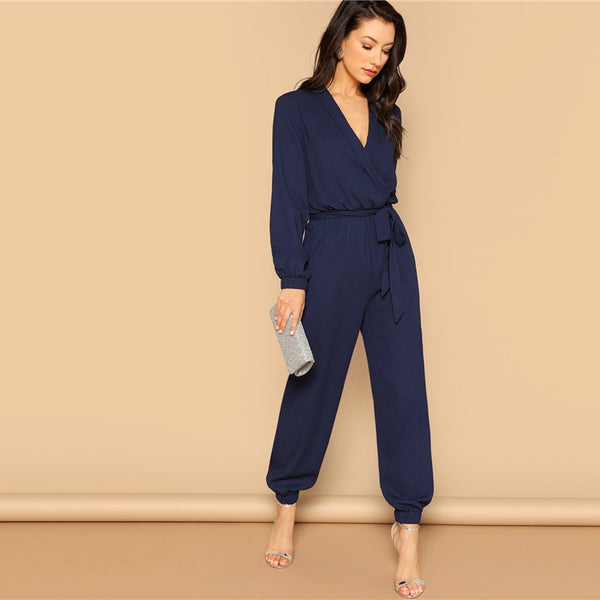 Surplice Wrap Plunging Belted Jumpsuit
