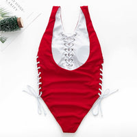 Bikini Lace up red one-piece suits Deep v push up