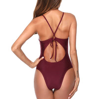 Bikini Deep v ruffle one piece swimsuit  bathers