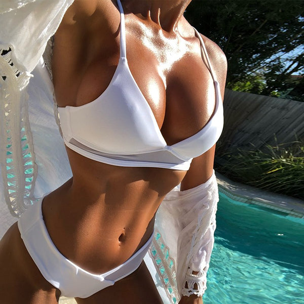 Bikini White micro  bathers Push up