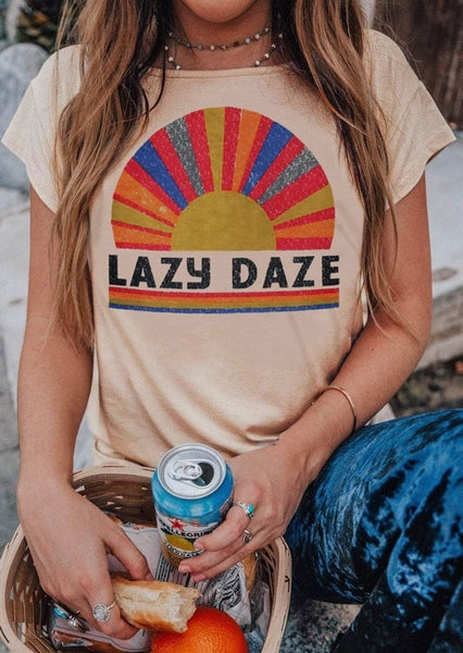 Lazy Daze Short Sleeve T-Shirt Flesh O-Neck