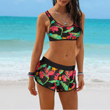 Print Floral Bikini  Swimsuit With Shorts