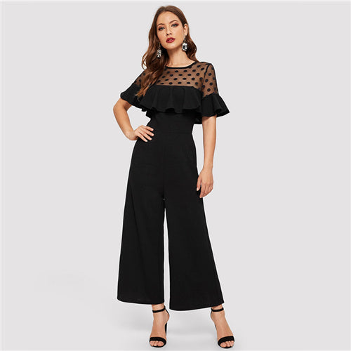 Dot Mesh Sheer Yoke Ruffle Trim Jumpsuit