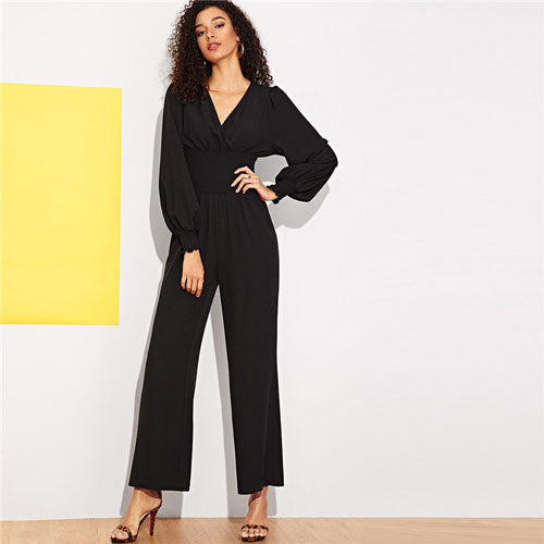 Wide Elastic Waist V-Neck Jumpsuit