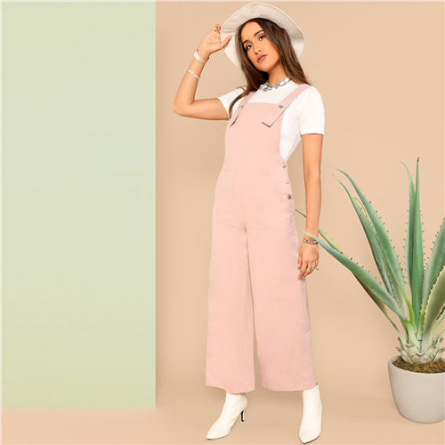 Press Buttoned Detail Pinafore Wide Leg Jumpsuit