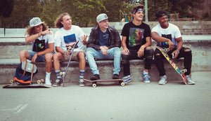 Group of skater friends having a good time and wearing nice clothing