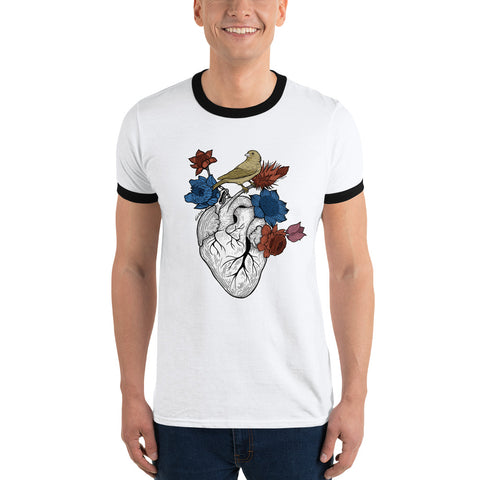 Flower Heart Ringer T-Shirt - Find Art Co.