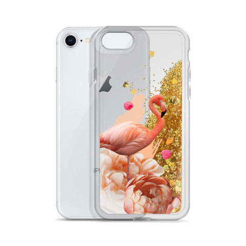 Liquid Glitter Flamingo iPhone Case - Find Art Co.