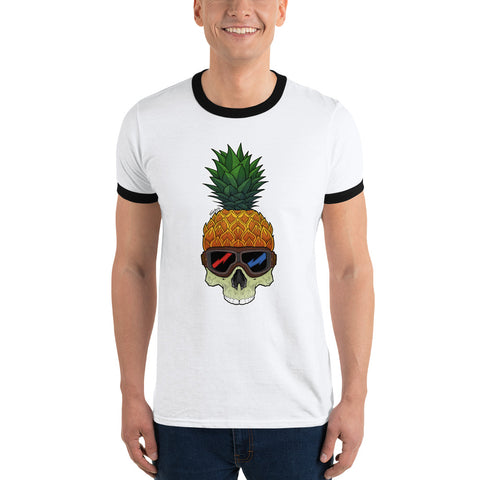 Pineapple Skull Ringer T-Shirt - Find Art Co.