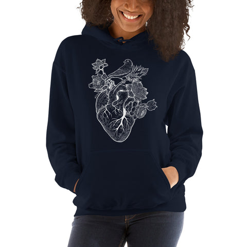 Flower Heart Hooded Sweatshirt - Find Art Co.