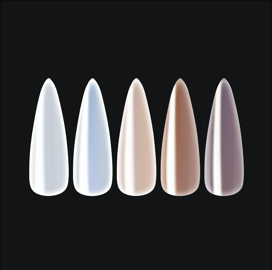 Chrome Gel-X Tips - Pearlescent - Natural Stiletto Long