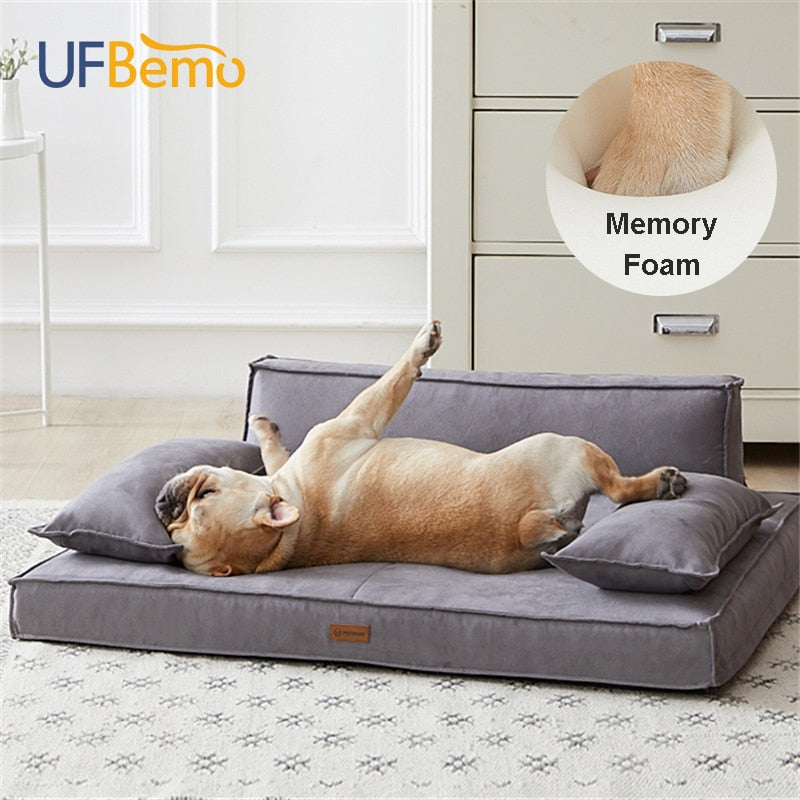 UFBemo Luxury Dog Couch Sofa Cat Bed Memory Foam for Puppy Pets Waterproof Solid for Small Large Dogs Removable Cover Suede