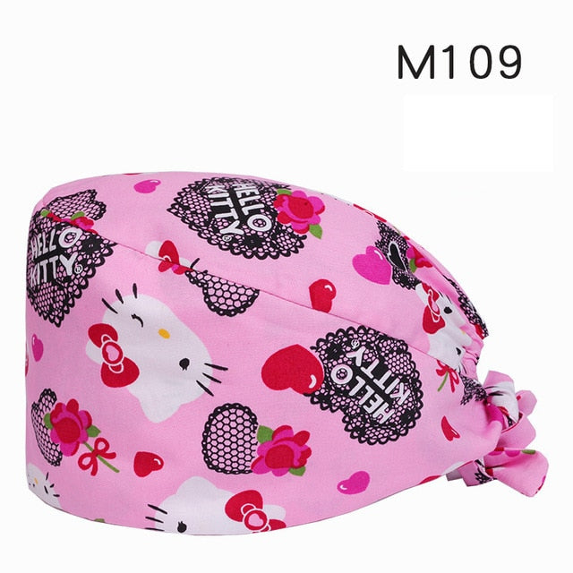 Clearance Scrub Caps Pattern Dentist Print Scrubs Hat 100% Cotton Women Men Dust Proof  Veterinarian Chef Working Cap Drop Ship