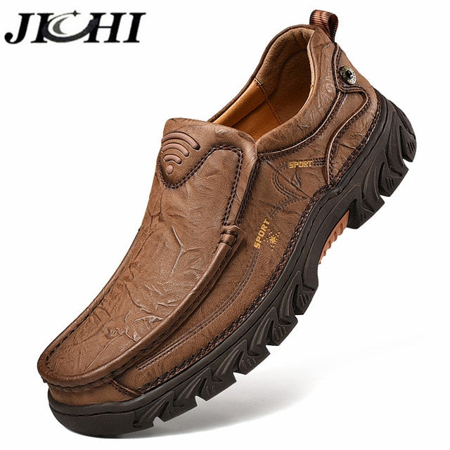 JICHI 2020 Men Shoes Classic Genune Leather Casual Shoes Men Lightweight Breathable Outdoor Brown Soft Bottom Big Size 38-48