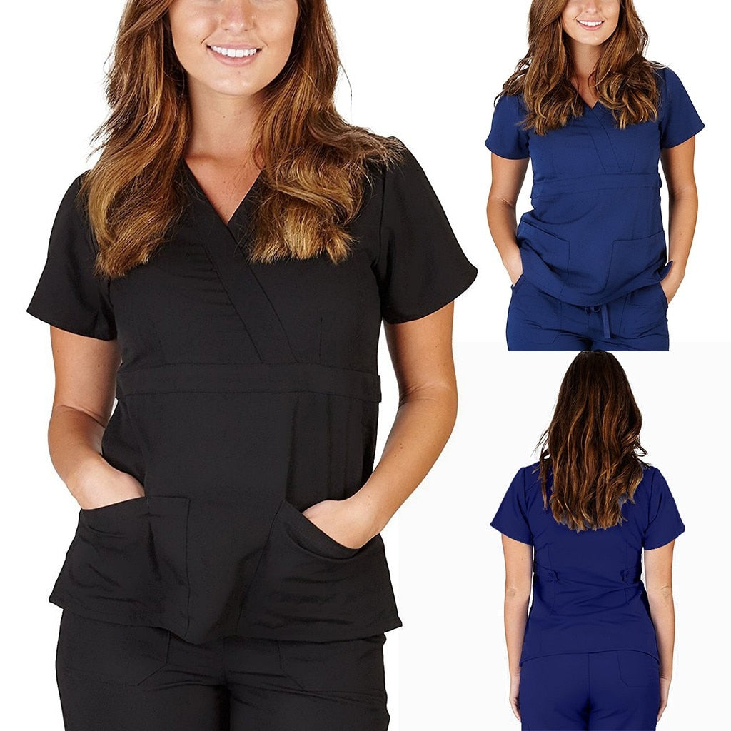 Women Short Sleeve V-neck Nursing Uniform Soft T-shirt Tops with Pocket uniformes clinicos mujer костюм медицинский