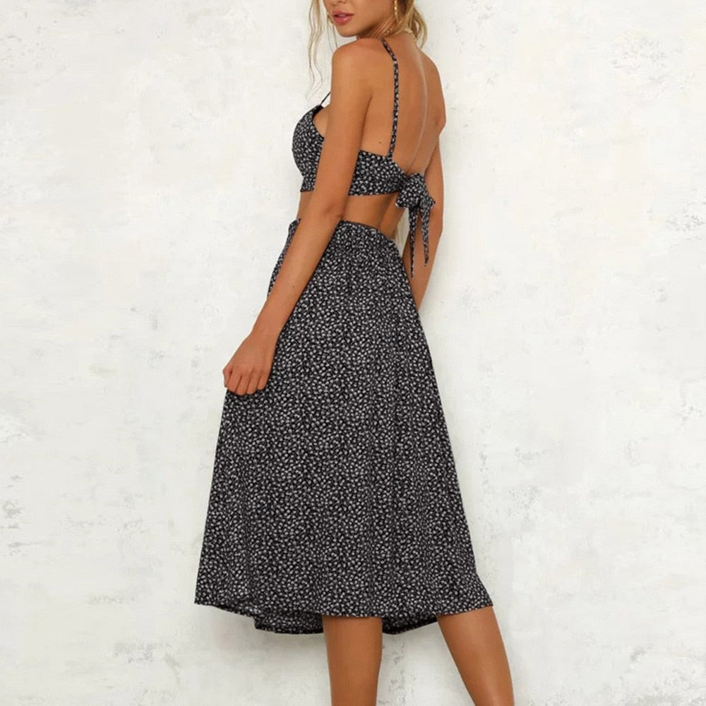 Mykenos Long Skirt Set / Black