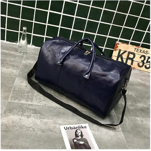 Bon Voyage Leather Duffle / Blue