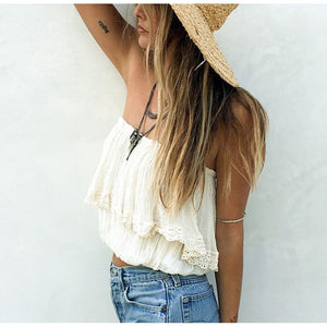 Chania Crop Top / White