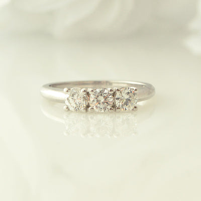 14Kt White Gold Three Stone White Gold Ring