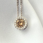 14Kt White Gold, Brown, and White Diamond Halo Pendant
