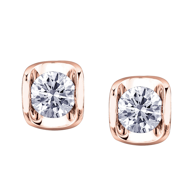 Rose And White Gold Canadian Diamond Studs