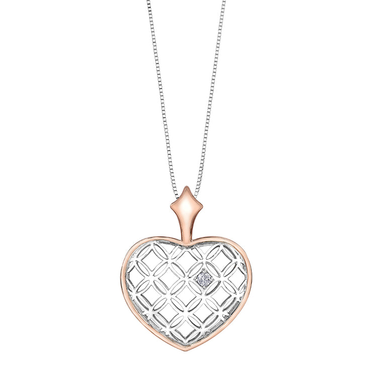 Rose And White Gold Heart Necklace