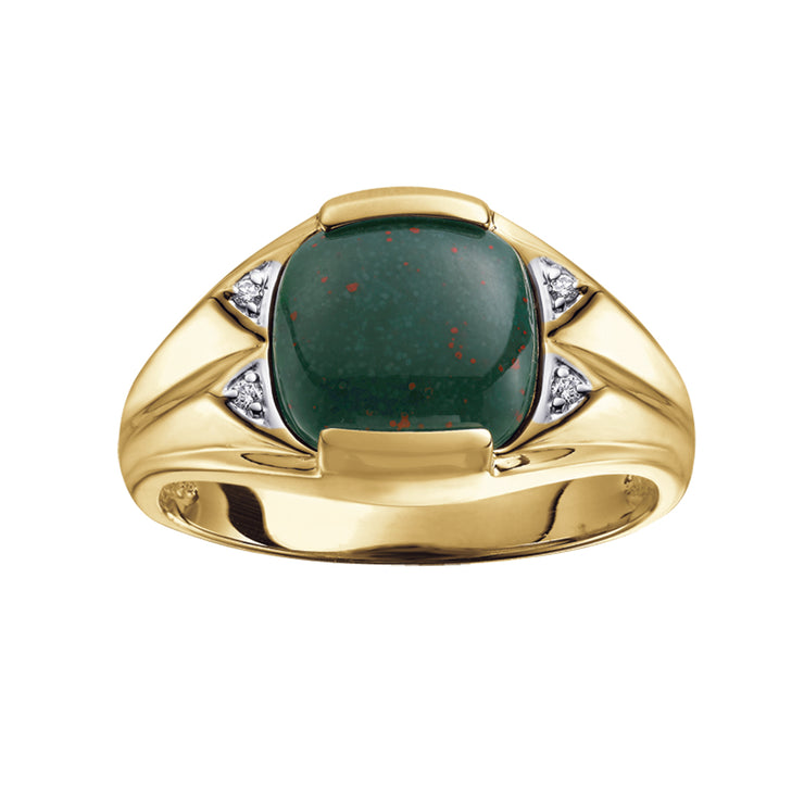 Yellow Gold Bloodstone And Diamond Ring