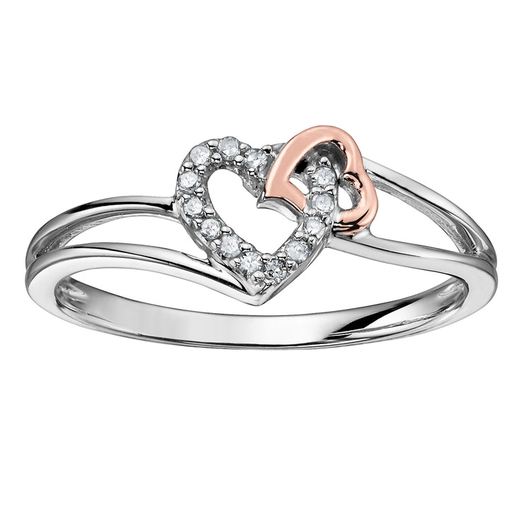 White And Rose Gold Diamond Heart Ring