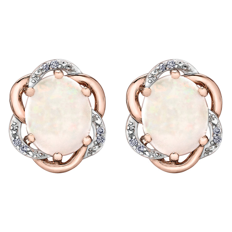Rose And White Gold Opal Earrings