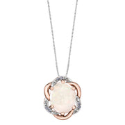 Rose And White Gold Opal Necklace