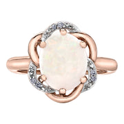 Rose And White Gold Ring With Opal And Diamonds