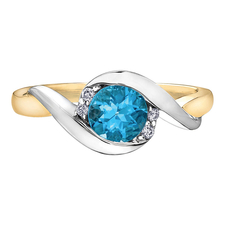 Yellow And White Gold Blue Topaz Ring
