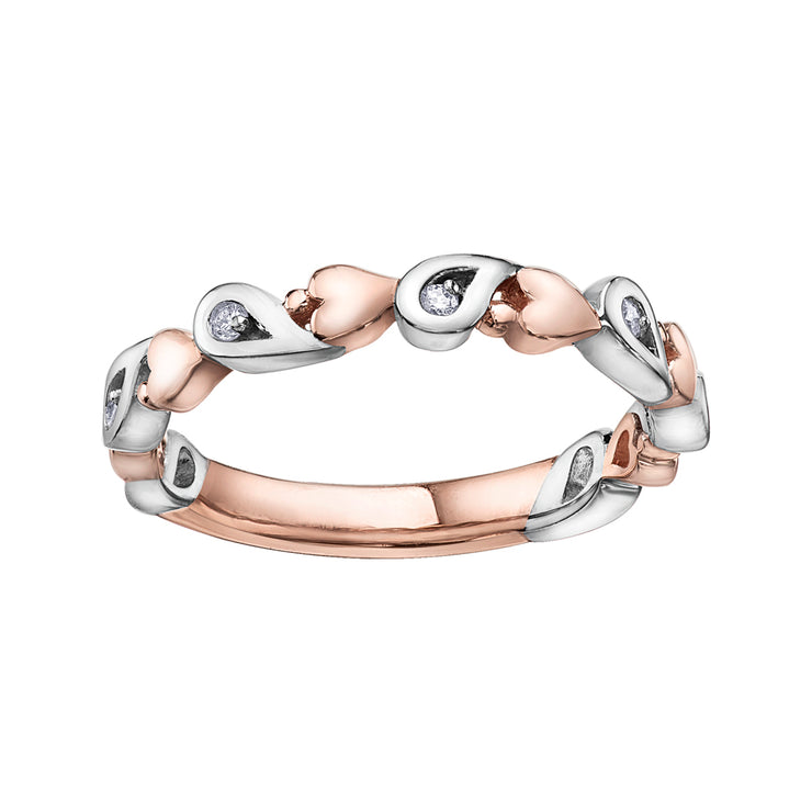 Rose And White Gold Diamond Band