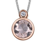 Rose Gold Morganite Diamond Necklace