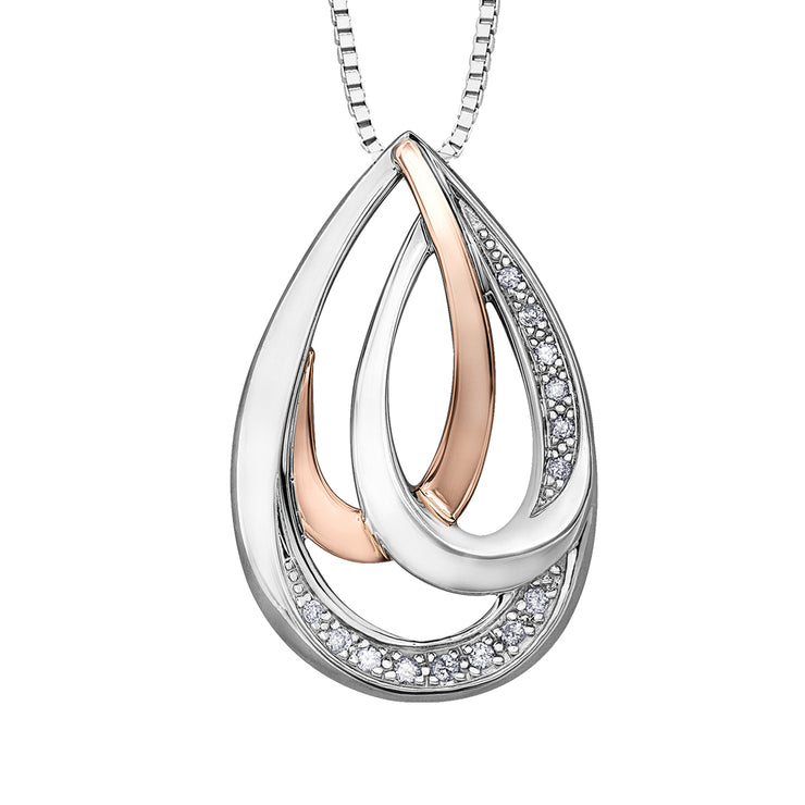 Silver And Rose Gold Diamond Pendant