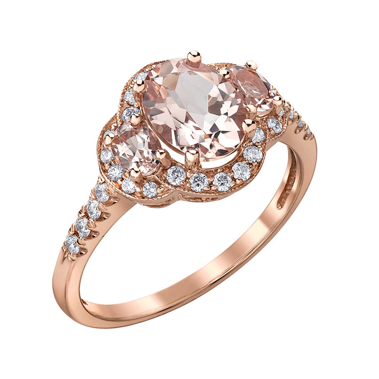 Rose Gold Morganite Diamond Ring