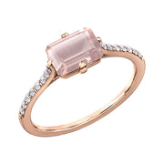 Rose Gold Diamond And Rose Quartz Ring