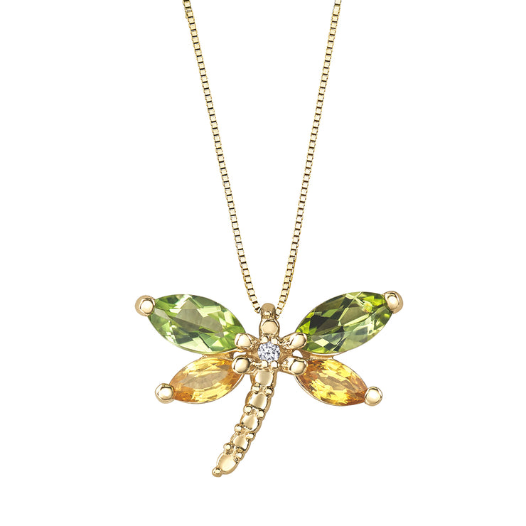 Yellow Gold Dragonfly Necklace
