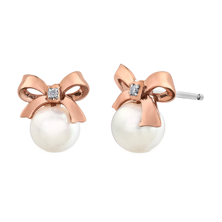 Rose And White Gold Pearl Stud Earrings