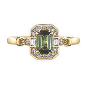 Yellow Gold Green Tourmaline Ring