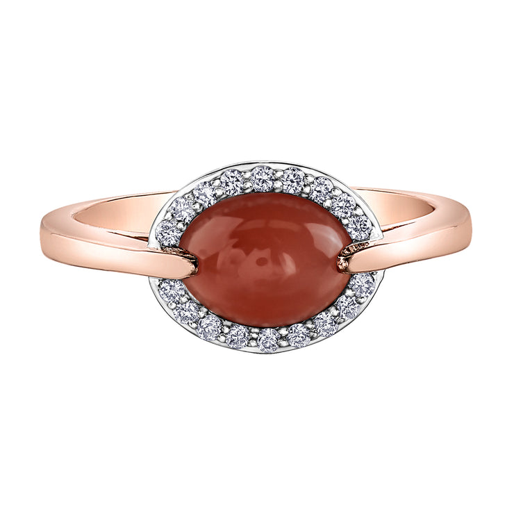 Rose Gold Moonstone And Diamond Ring